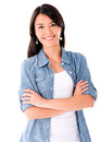 Woman in denim jacket happy smiling isolated over white background Stock Photos