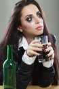 Woman in depression drinking alcohol young crying drink Stock Images