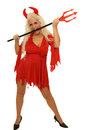 Woman devil mature blond with costume with fork and Stock Photo