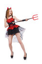 Woman devil with trident on white Stock Photography