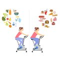Woman Diet concept vector set.