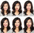 Woman with different facial expression Royalty Free Stock Photo