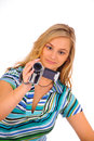 Woman with digital camcorder Royalty Free Stock Photo