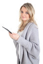 Woman with digital tablet picture of a blonde a Stock Photos