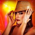 Woman in disco club Royalty Free Stock Photo