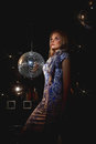 Woman disco mirror ball close up face of young blonde Royalty Free Stock Photos