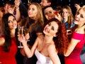 Woman on disco in night club lighting effects Stock Photo