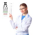 Woman doctor with eyeglasses female optician in glasses showing eye chart verifying patient s vision isolated on white Royalty Free Stock Photo