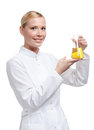 Woman doctor hands conical flask Stock Photo