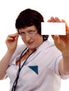 Woman Doctor Holding Card Stock Images