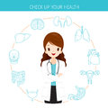 Woman Doctor With Human Internal Organs Line Icons Set
