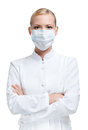 Woman doctor in respirator Royalty Free Stock Images