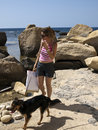 Woman and Dog Stock Image