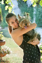 Woman with a dog Royalty Free Stock Image