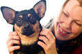 Woman and dog happy with cute Royalty Free Stock Image