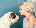Woman and a dog pretty with white Royalty Free Stock Images