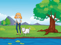 A woman with a dog walking along the river illustration of Royalty Free Stock Photo