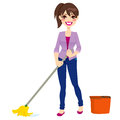 Woman doing chores cleaning floor mop mop bucket Royalty Free Stock Photo
