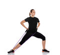 Woman doing exercise with resistance rubber pilates Royalty Free Stock Photo