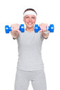 Woman doing exercises with dumbbells Stock Image
