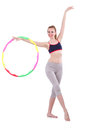 Woman doing exercises with hula hoop Stock Photography