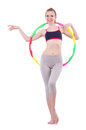 Woman doing exercises with hula hoop Royalty Free Stock Photo