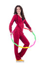 Woman doing exercises with hula hoop Royalty Free Stock Photos