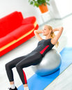Woman doing fitness exercises Stock Photo