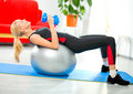 Woman doing fitness exercises Royalty Free Stock Photo