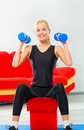 Woman doing fitness exercises Stock Images