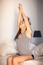 Woman Doing Her Early Morning Stretching Stock Photography