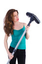 Woman doing housekeeping stuff at home Royalty Free Stock Images