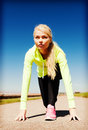 Woman doing running outdoors sport and lifestyle concept Stock Photos