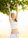Woman doing sports morning exercises Royalty Free Stock Image