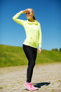 Woman doing sports outdoors fitness and lifestyle concept Stock Images