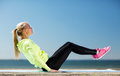 Woman doing sports outdoors fitness and lifestyle concept Stock Image