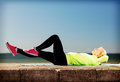Woman doing sports outdoors sport and lifestyle concept Royalty Free Stock Photos