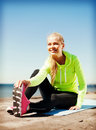 Woman doing sports outdoors sport and lifestyle concept Royalty Free Stock Photo