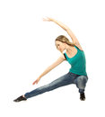 Woman doing stretching exercise on white background Stock Images