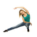 Woman doing stretching exercise on white background Royalty Free Stock Photography