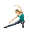 Woman doing stretching exercise on white background Royalty Free Stock Photo