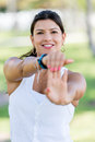 Woman doing stretching exercises beautiful at the park Royalty Free Stock Image