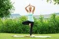 Woman doing tree vrksasana yoga pose meditating outdoors in nature Stock Image