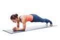Woman doing Yoga asana Chaturanga dandasana plank pose Royalty Free Stock Photo