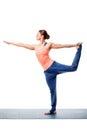 Woman doing yoga asana Natarajasana Royalty Free Stock Photo