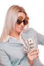 Woman with dollar sign glasses and dollar bills business holding hundred Stock Photography