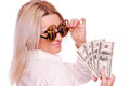 Woman with dollar sign glasses and dollar bills business holding hundred isolated on white Royalty Free Stock Image