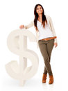Woman with a dollar symbol Royalty Free Stock Photo