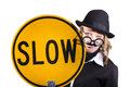 Woman drag wearing men s clothes mustache slow sign tired expression Stock Image