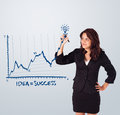 Woman drawing graph on whiteboard young Royalty Free Stock Images